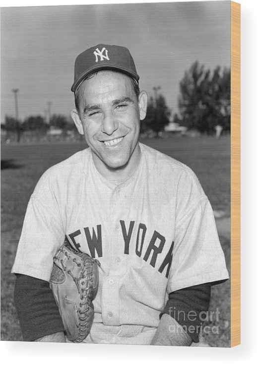 American League Baseball Wood Print featuring the photograph Yogi Berra by Kidwiler Collection