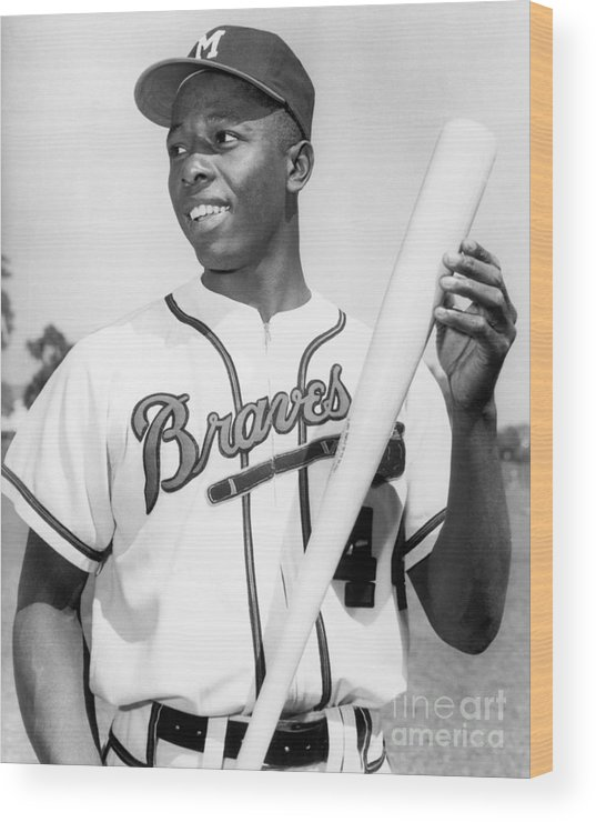 People Wood Print featuring the photograph Hank Aaron by National Baseball Hall Of Fame Library