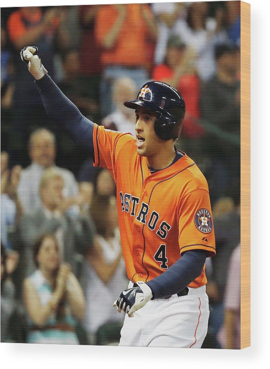 Three Quarter Length Wood Print featuring the photograph George Springer by Scott Halleran