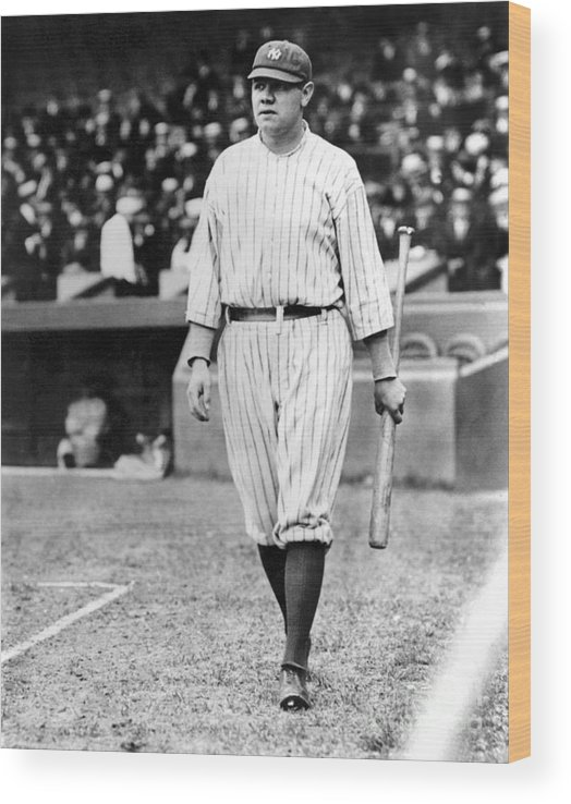 Home Base Wood Print featuring the photograph Babe Ruth by National Baseball Hall Of Fame Library