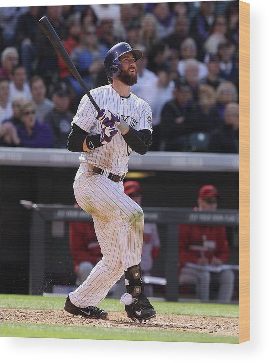 National League Baseball Wood Print featuring the photograph Charlie Blackmon by Doug Pensinger
