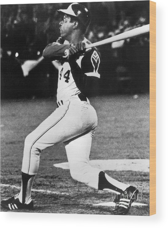Sports Bat Wood Print featuring the photograph Hank Aaron by National Baseball Hall Of Fame Library