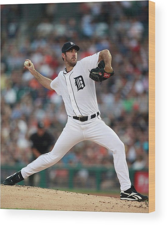 American League Baseball Wood Print featuring the photograph Justin Verlander by Leon Halip