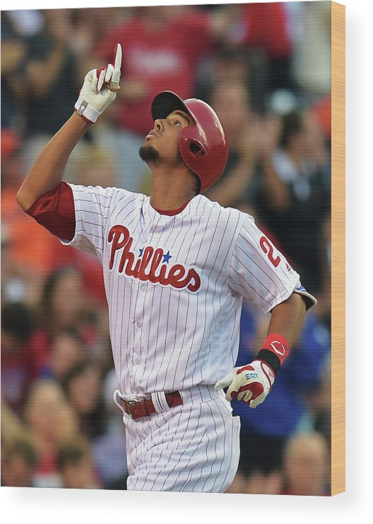 American League Baseball Wood Print featuring the photograph Aaron Altherr by Drew Hallowell