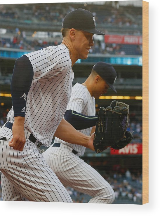 Three Quarter Length Wood Print featuring the photograph Aaron Judge and Giancarlo Stanton by Jim McIsaac