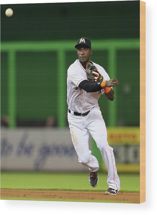 American League Baseball Wood Print featuring the photograph Adeiny Hechavarria by Mike Ehrmann