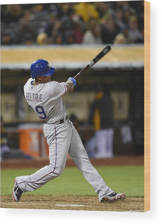Adrian Beltre Wood Print featuring the photograph Adrian Beltre and Elvis Andrus by Thearon W. Henderson