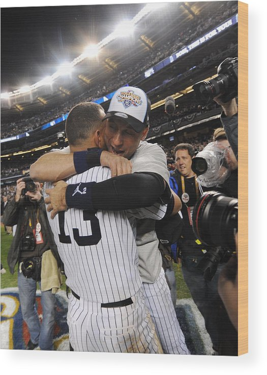 American League Baseball Wood Print featuring the photograph Alex Rodriguez and Derek Jeter by New York Daily News Archive