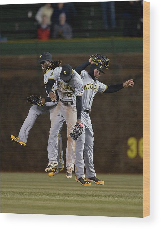 Celebration Wood Print featuring the photograph Andrew Mccutchen, Starling Marte, and Travis Snider by Brian Kersey