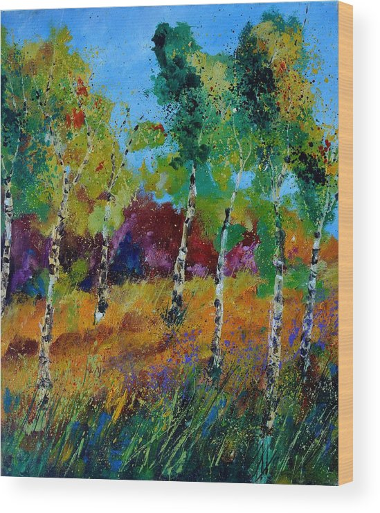 Landscape Wood Print featuring the painting Aspen trees in autumn by Pol Ledent
