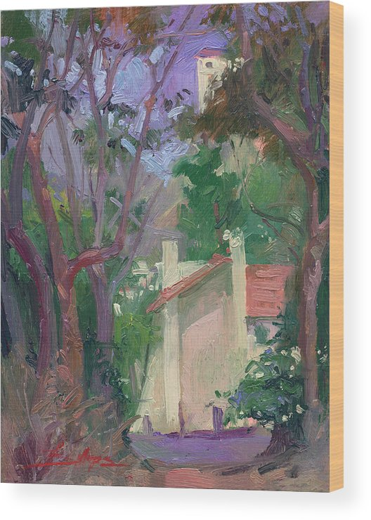 Pleinair Painting Wood Print featuring the painting At Jourey's End Plein Air by Betty Jean Billups