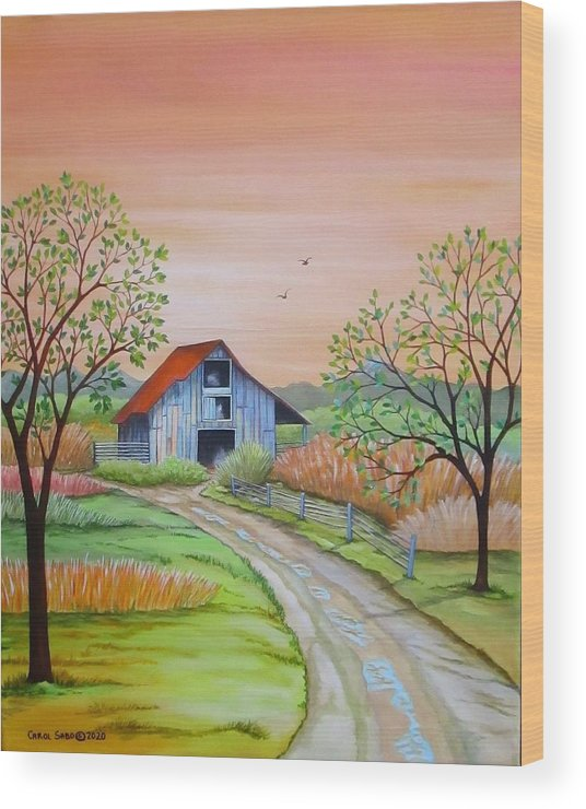 Original Wood Print featuring the painting Back to the Barn by Carol Sabo