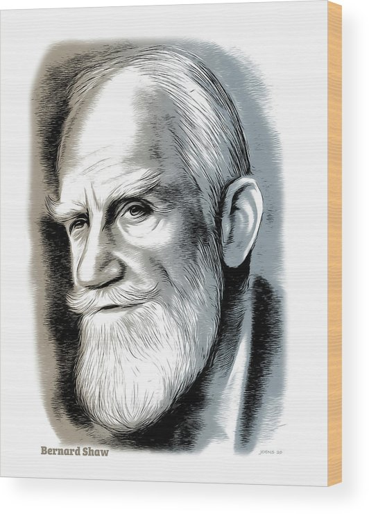Bernard Shaw Wood Print featuring the mixed media Bernard Shaw - Mixed Media by Greg Joens