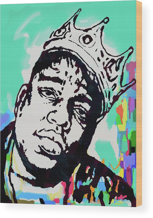Biggie Smalls Colour Drawing Art Poster - Pop Art Wood Print featuring the mixed media Biggie Smalls - pop art poster 1 by Kim Wang