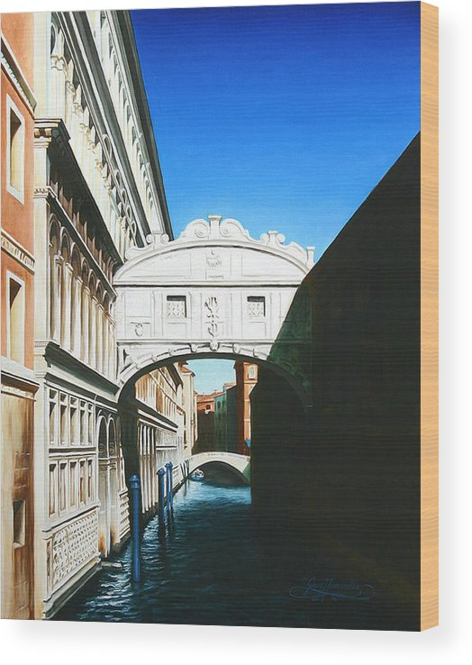 Bridge Of Sighs Wood Print featuring the painting Bridge Of Sighs Venice Italy by Gary Hernandez