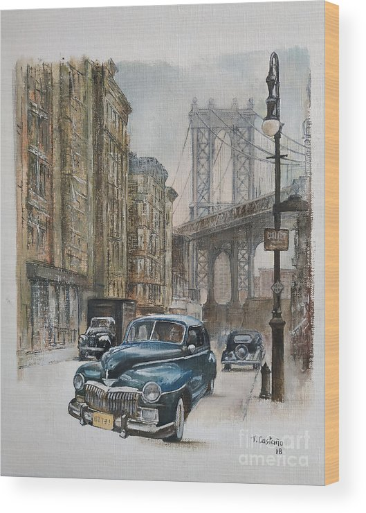 Blue Car Wood Print featuring the painting Brooklyn bridge by Tomas Castano
