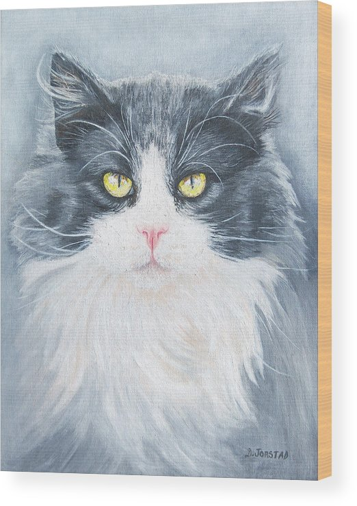 Pet Portrait Artist Wood Print featuring the painting Cat Print Pet Portrait Artist For Hire Commission by Diane Jorstad