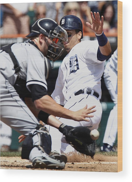 Baseball Catcher Wood Print featuring the photograph Chicago White Sox v Detroit Tigers by Duane Burleson