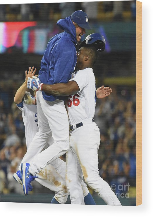 Ninth Inning Wood Print featuring the photograph Clayton Kershaw and Yasiel Puig by Jayne Kamin-oncea