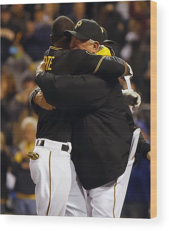 Ninth Inning Wood Print featuring the photograph Clint Hurdle and Starling Marte by Matt Sullivan
