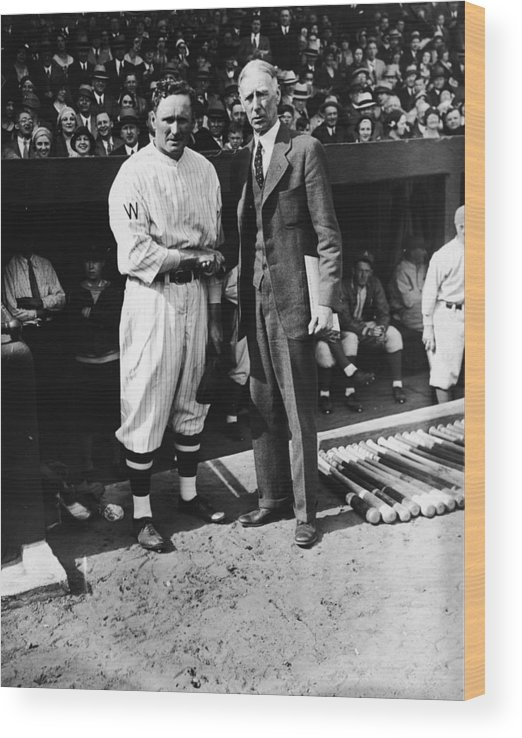 Crowd Wood Print featuring the photograph Connie Mack, Ty Cobb, and Walter Johnson by Fpg