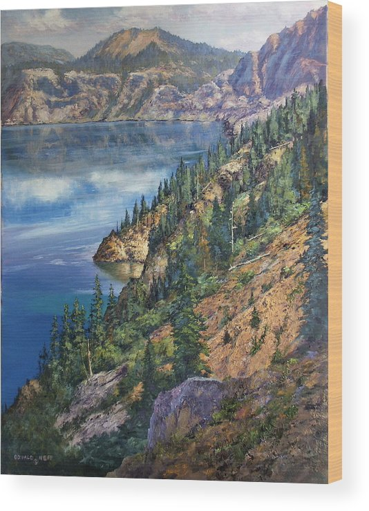 Crater Lake Oregon Wood Print featuring the painting Crater Lake Overlook by Donald Neff