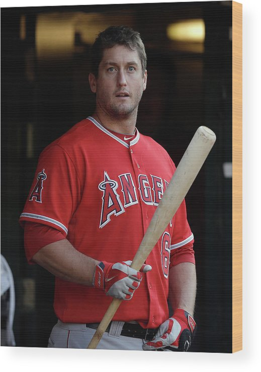American League Baseball Wood Print featuring the photograph David Freese by Ezra Shaw