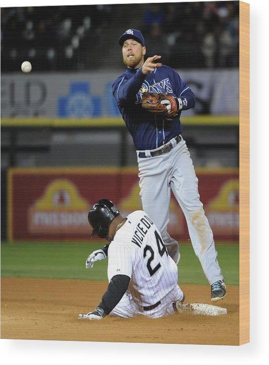 American League Baseball Wood Print featuring the photograph Dayan Viciedo And Ben Zobrist by David Banks
