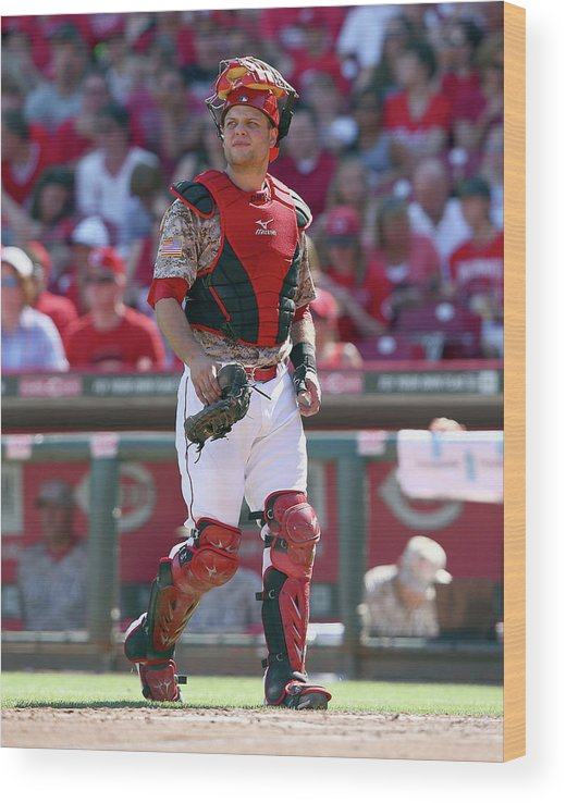 Great American Ball Park Wood Print featuring the photograph Devin Mesoraco by Andy Lyons