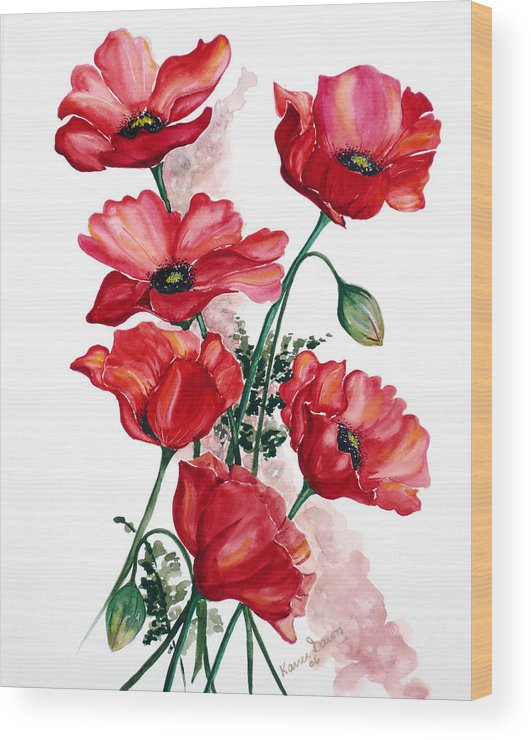 Original Watercolor Of English Field Poppies Painted On Arches Watercolor Paper Wood Print featuring the painting English Field Poppies. by Karin Dawn Kelshall- Best