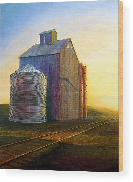Silos Wood Print featuring the painting Estes Road Twilight by Leonard Heid