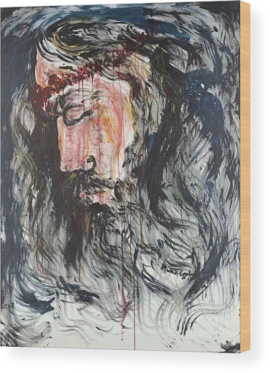 Jesus Wood Print featuring the painting Gethsemane to Golgotha by Nadine Rippelmeyer