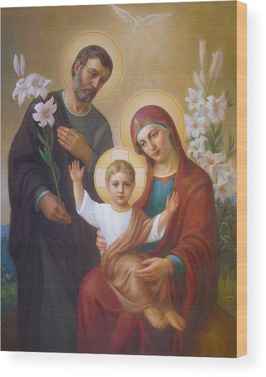 Jesus Wood Print featuring the painting Holy Family by Svitozar Nenyuk