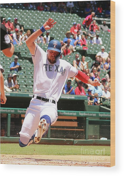 People Wood Print featuring the photograph Hunter Pence and Asdrubal Cabrera by Richard Rodriguez