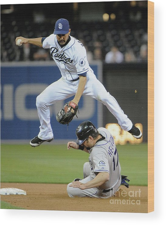 Double Play Wood Print featuring the photograph Jason Bartlett and Todd Helton by Denis Poroy