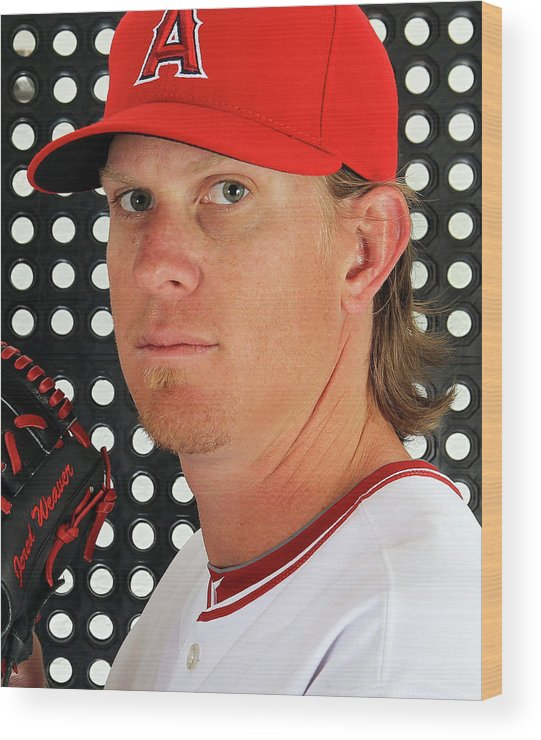 Media Day Wood Print featuring the photograph Jered Weaver by Jamie Squire