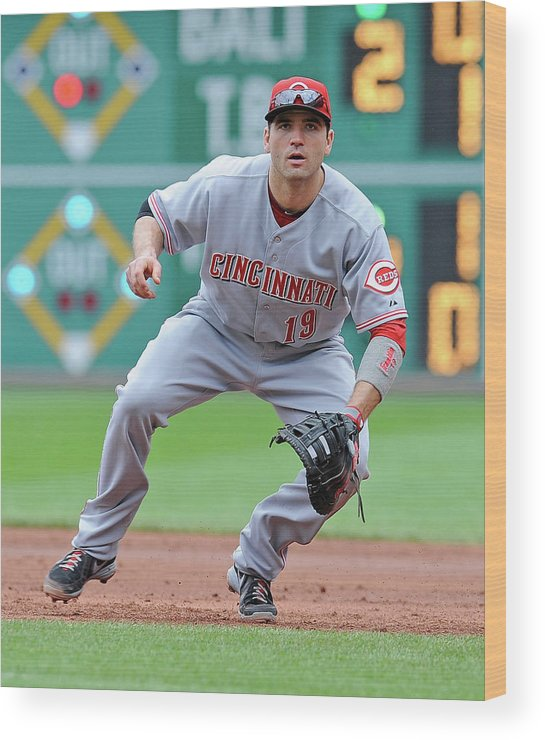 Pnc Park Wood Print featuring the photograph Joey Votto by Joe Sargent