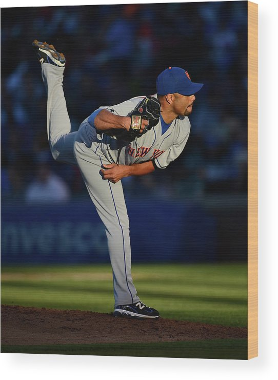 Ball Wood Print featuring the photograph Johan Santana by Jonathan Daniel