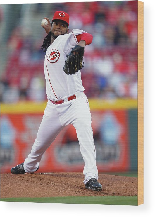 Great American Ball Park Wood Print featuring the photograph Johnny Cueto by Michael Hickey