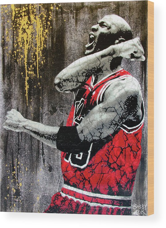 Michael Jordan Wood Print featuring the painting Jordan - The Best There Ever Was by Bobby Zeik
