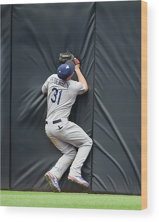 Ninth Inning Wood Print featuring the photograph Justin Upton and Joc Pederson by Denis Poroy