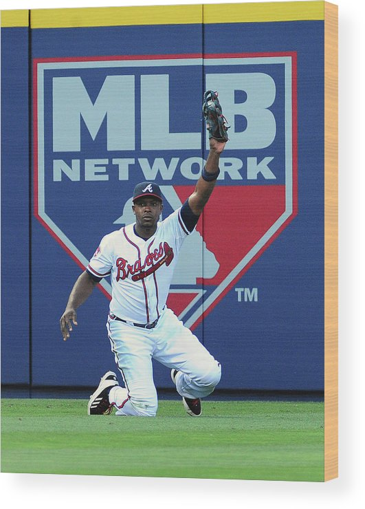 Atlanta Wood Print featuring the photograph Justin Upton by Scott Cunningham