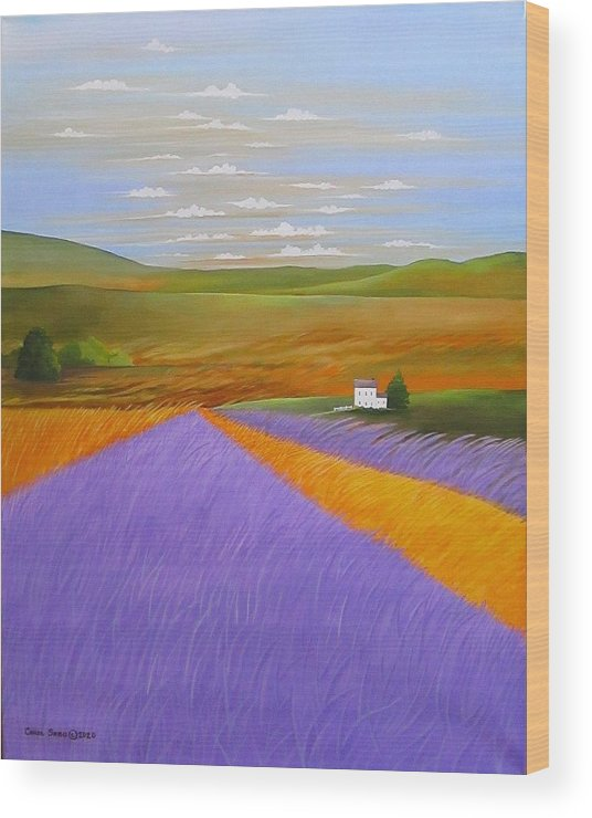 Country Wood Print featuring the painting Lavendar Fields by Carol Sabo