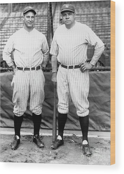 American League Baseball Wood Print featuring the photograph Lou Gehrig and Babe Ruth by National Baseball Hall Of Fame Library