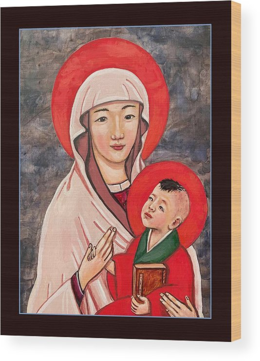 Wood Print featuring the painting Madonna and Child by Kelly Latimore