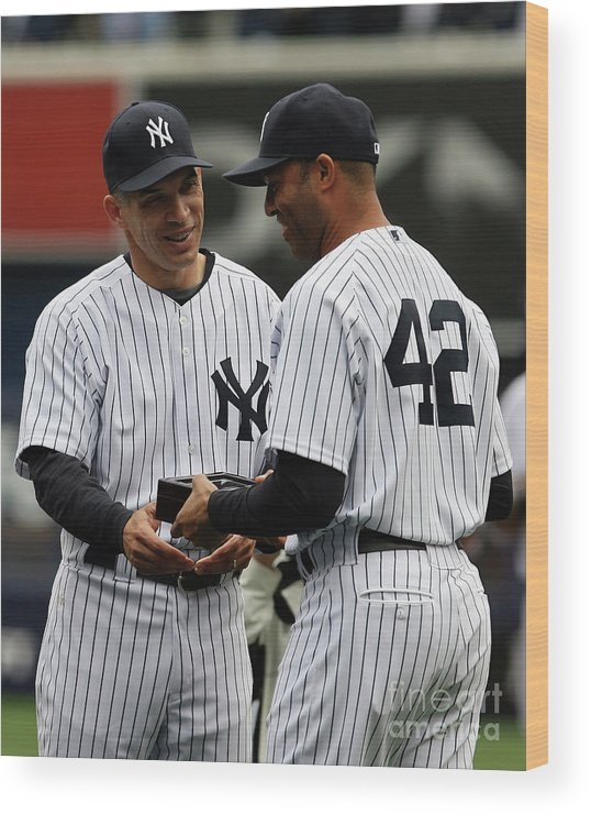 People Wood Print featuring the photograph Mariano Rivera and Joe Girardi by Chris Trotman