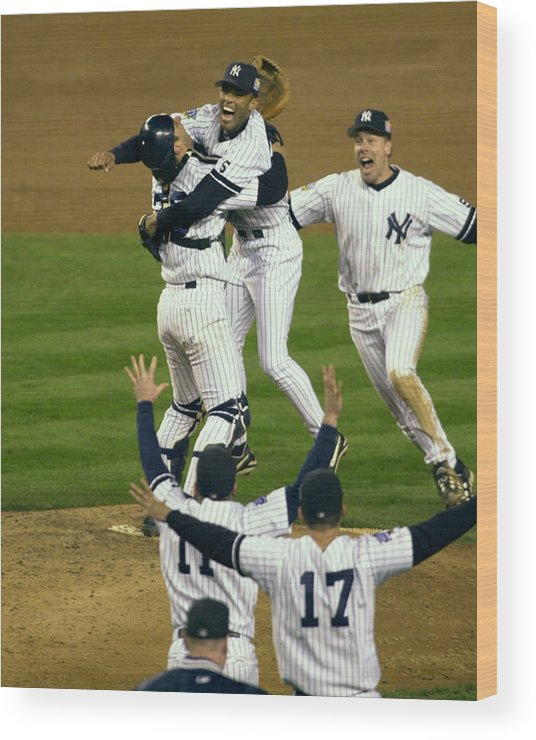 Baseball Catcher Wood Print featuring the photograph Mariano Rivera, Scott Brosius, and Jorge Posada by New York Daily News Archive