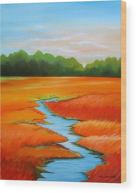 Stream Wood Print featuring the painting Meandering Stream by Carol Sabo