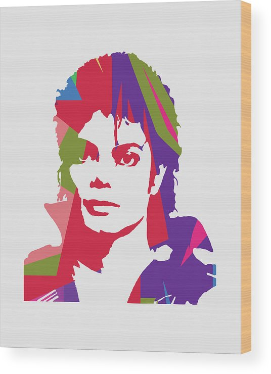Michael Jackson Wood Print featuring the digital art Michael Jackson 2 POP ART by Ahmad Nusyirwan
