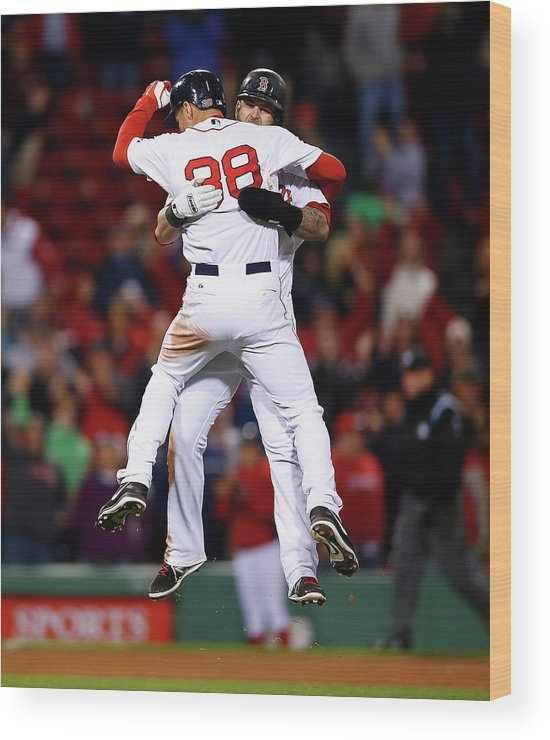 American League Baseball Wood Print featuring the photograph Mike Napoli and Grady Sizemore by Jared Wickerham
